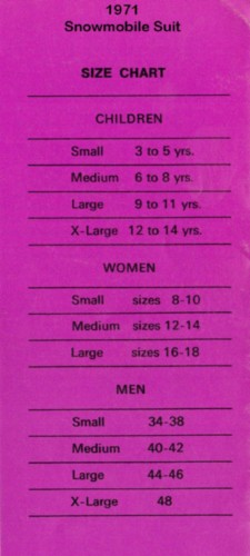 1971 Snowmobile Suit Size Chart