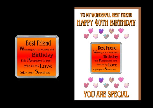 40th Happy Birthday Best Friend Card & Magnet Gift 40 Today