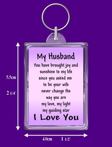 13th Wedding Anniversary Gift For Husband : Husband Verse Keyring Keepsake Gift - ROSIE