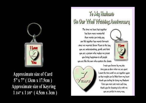 7th Anniversary Husband Card & Keyring Gift Wool Wedding