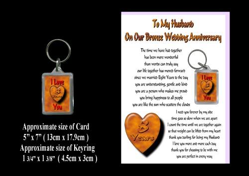 8 Year Wedding Anniversary Gift Husband : 8th Anniversary Husband Card & Keyring Gift Bronze WeddingROSIE
