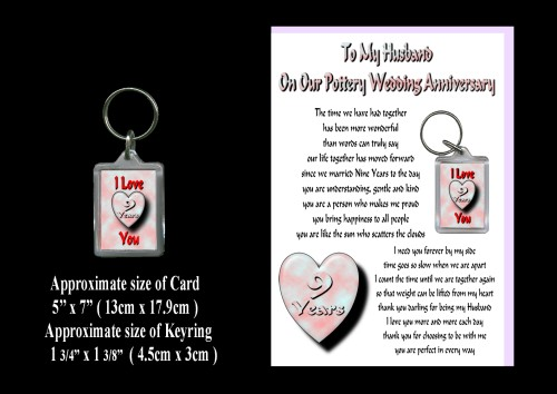 9th Anniversary Husband Card & Keyring Gift Pottery Wedding - ROSIE