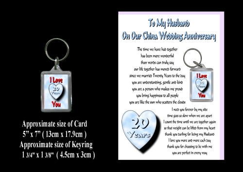 20th Anniversary Husband Card & Keyring Gift China Wedding