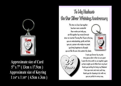 Silver Wedding Anniversary Presents Husband : 25th Anniversary Husband Card & Keyring Gift Silver Wedding - ROSIE