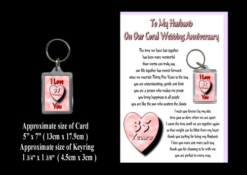 35th Anniversary Husband Card & Keyring Gift Coral Wedding - ROSIE