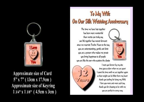 9th Wedding Anniversary Gift Ideas Wife : 12th Anniversary Wife Card & Keyring Gift Silk WeddingROSIE