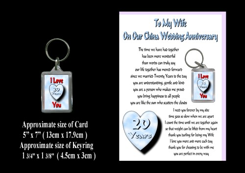 20th Anniversary Wife Card & Keyring Gift China Wedding