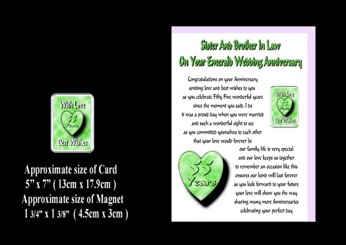55th Anniversary Sister & Brother In Law Card & Magnet Wedding Gift ...