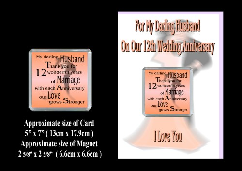 Ideas For 12th Wedding Anniversary Gift For Husband : 12th Anniversary Husband Card & Magnet Gift Silk Wedding - ROSIE