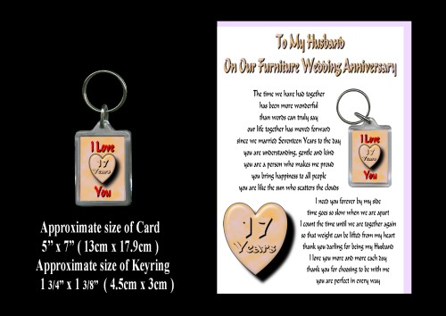 17th Wedding Anniversary Gift For Husband : 17th Anniversary Husband Card & Keyring Gift Furniture WeddingROSIE