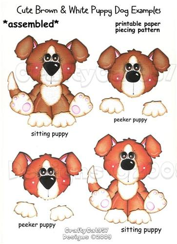 CUTE BROWN  WHITE  PUPPY DOG  2 PAGES PRINTABLE PAPER PIECING