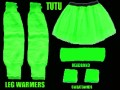 Neon Green Tutu, Leg warmers, Sweatbands & Headband