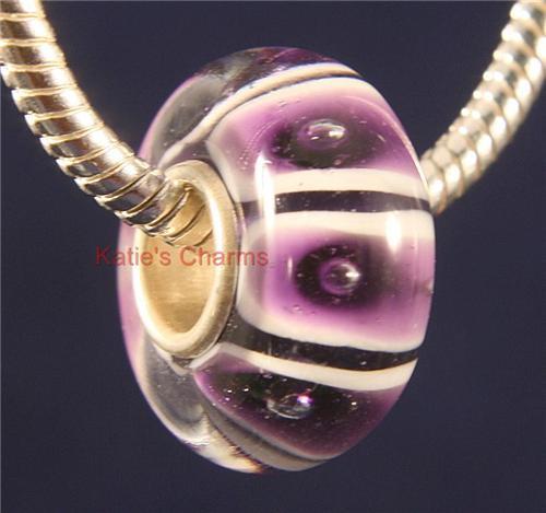 Purple Snakeskin Murano Glass Bead fits Pandora Bracelets