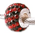 Authentic Biagi Swarovski Crystal Bead Black Red fits Pandora