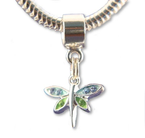 sterling silver dragonfly dangle pandora style bead