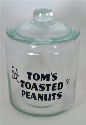 Drug Store Counter Display Tom's Toasted Peanut Cracker Cookie Jar