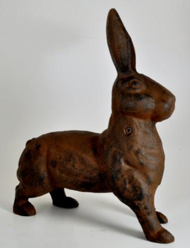 Cast Iron Rabbit Figure Door Stop Statue Heavy And Large