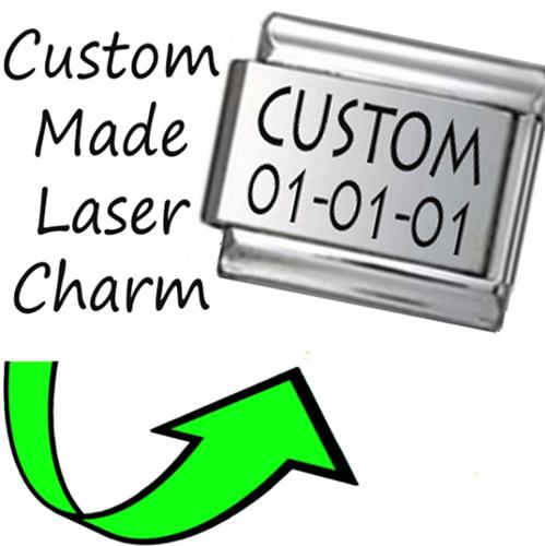 CP002 Italian Charm CUSTOM MADE NAME DATE Engraved Laser Charm