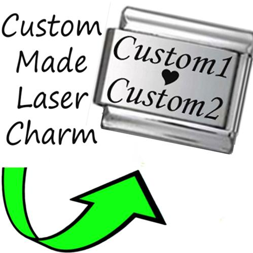 CP004 Italian Charm CUSTOM MADE LOVE FROM Engraved Laser Charm