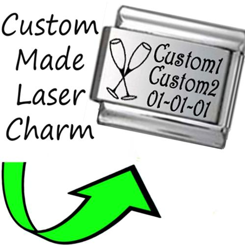 CP005 Italian Charm CUSTOM MADE ANNIVERSARY Engraved Laser Charm