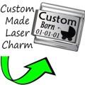 CUSTOM MADE BABY BORN Engraved Italian Charm 9mm - 1x CP009 Single Bracelet Link