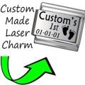 CUSTOM MADE BABY 1ST STEPS Engraved Italian Charm 9mm-1xCP010 Sgle Bracelet Link