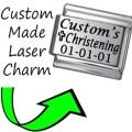 CUSTOM MADE CHRISTENING Engraved Italian Charm 9mm-1x CP029 Single Bracelet Link
