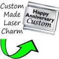 CUSTOM MADE ANNIVERSARY Engraved Italian Charm 9mm-1x CP049 Single Bracelet Link