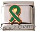 RIBBON ORGAN DONOR GREEN AWARENESS Enamel Italian Charm 9mm - 1x NC206 Sngl Link