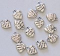 Made with love heart charms for favours