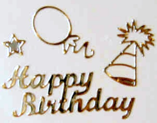 Gold Happy Birthday Stickers