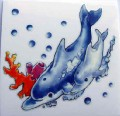 Dolphins Rub On Transfer Permanent for Glass Ceramic Tiles