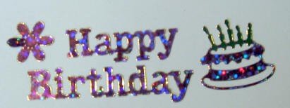 Pink Holographic Happy Birthday Scrapbook Stickers