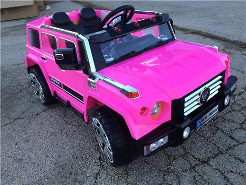 2 seat 12v pink power kids ride on remote control wheels hummer doors open car