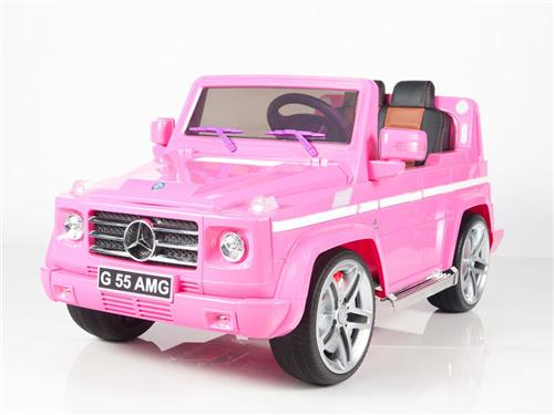 Mercedes g55 pink 12v power ride on kids car rubber tires for Pink mercedes benz power wheels