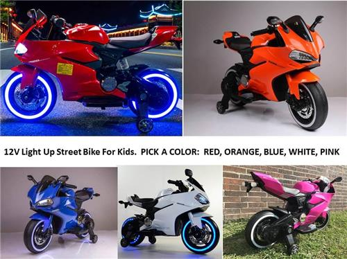 Kids 12V Motorcycle Street Bike Electric Power Ride On 2 Speed w Training Wheels