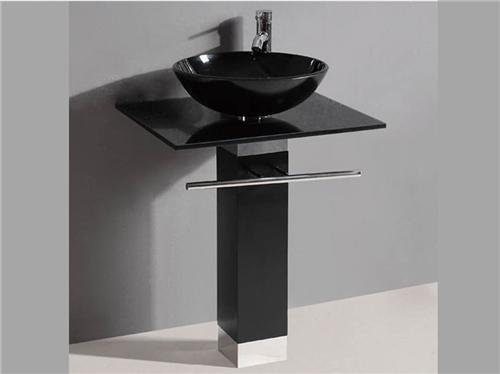 """Black Pedistal 23"""" Bathroom Glass Vessel Sink Vanity & 12"""