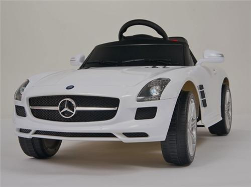 White mercedes benz lic sls amg ride on remote control for Kids mercedes benz power wheel