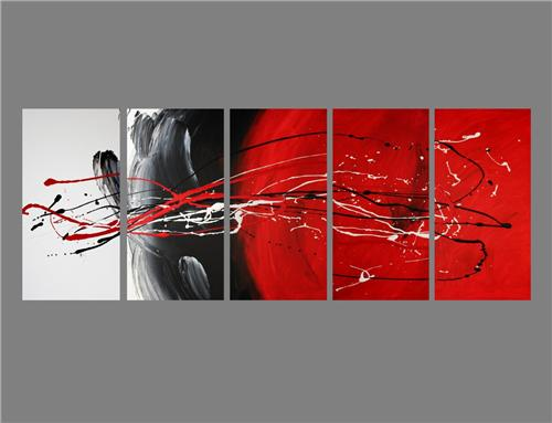 Abstract canvas painting red black white. Wall art paintings