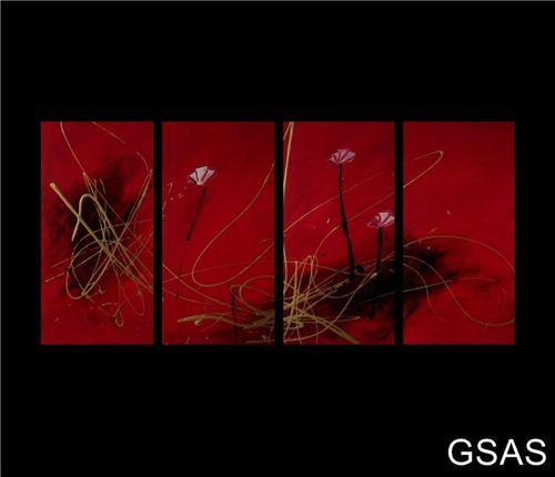 Abstract painting  red and gold poppies .