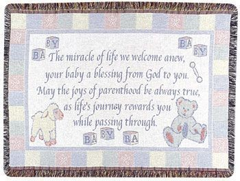 New Baby throw Mid Size Tapestry Throw Size 40x50 - Treasured Memories, Unltd