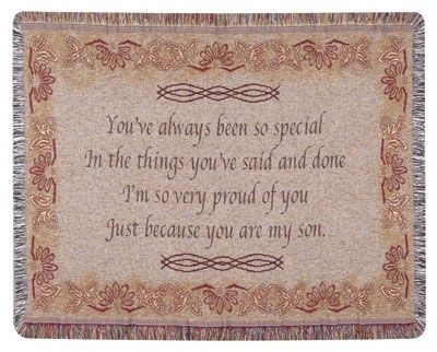 Son Gift To Remember Tapestry Throw Size 40x50 - Treasured Memories, Unltd