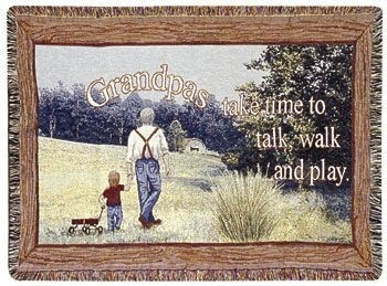 Grandpas Gift To Remember Tapestry Throw Size 40x50 - Treasured Memories, Unltd