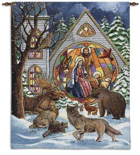 Snowfall nativity christmas wall tapestry imallshoppe