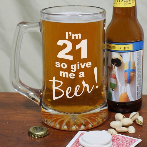 Personalized Any Age 21st Birthday Beer Glass Mug