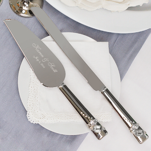 Personalized Sparkling Crystals Wedding Cake Server And Knife Set