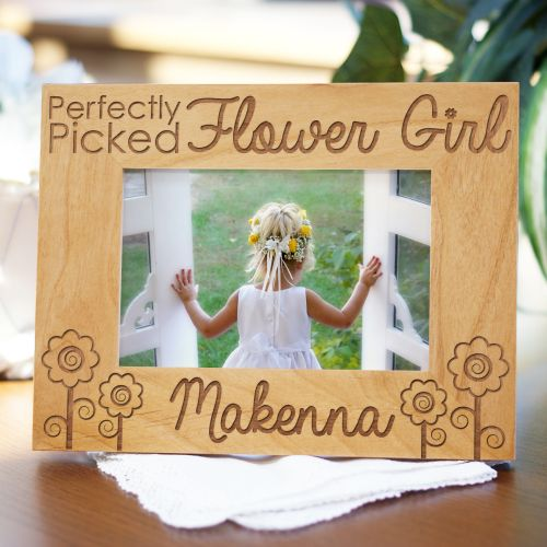 Personalized Engraved Flower Girl Wedding Wood Picture Frame ...