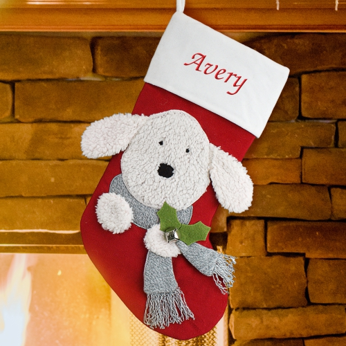 Personalized embroidered dog christmas stocking for Personalized dog christmas stocking