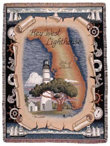 Key West Florida Lighthouse Tapestry Throw
