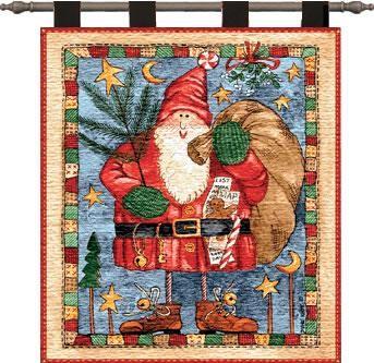 Waiting For Xmas Santa Christmas Wall Art Hanging Tapestry